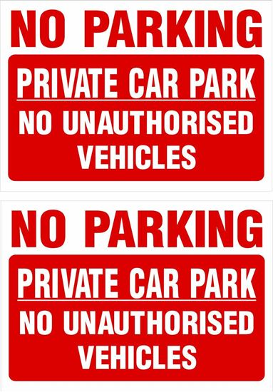 Picture of Private car park no unauthorised vehicles Decals / Stickers