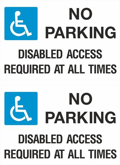 Picture of No parking disabled access required at all times Decals / Stickers