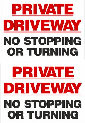 Picture of Private driveway no stopping or turning Decals / Stickers