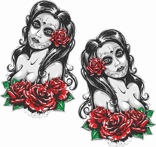 Picture of Woman Tattoo Roses Decals / Stickers