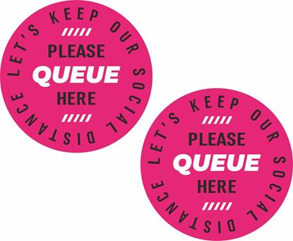 Picture of Let's keep our social distance Queue here Decals / Stickers