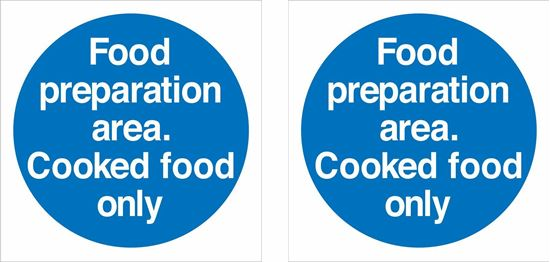 Picture of Food preparation area. Cooked food only Decals / Stickers