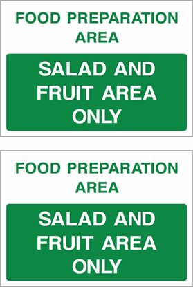 Picture of Food preparation area, Salad and Fruit area only Decals / Stickers