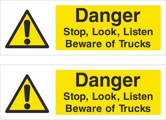 Picture of Stop, Look, Listen, Beware  of trucks Decals / Stickers