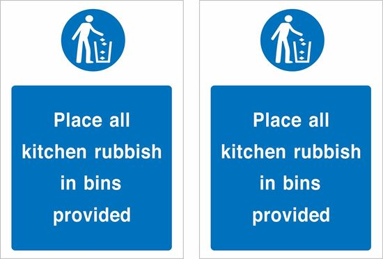 Picture of Place kitchen rubbish in bins provided Decals / Stickers