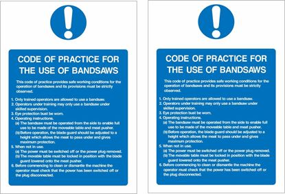 Picture of Code of practice for the use of bandsaws... Decals / Stickers