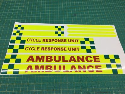 Picture of Cycle Response Unit Ambulance Safety Decals / Stickers  - Fluorescent / Reflective