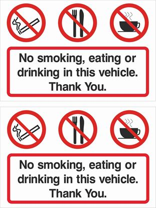 Picture of No smoking, eating or drinking... Decals / Stickers