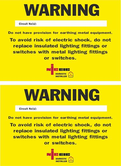 Picture of Missing Circuit Protective Conductor Warning Labels / Stickers