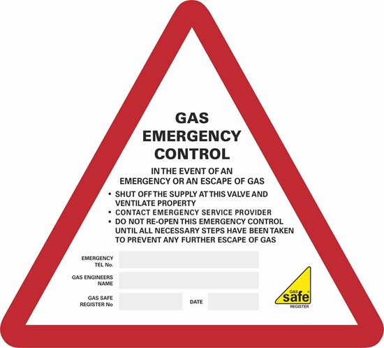Picture of Gas Emergency Control  Labels / Stickers