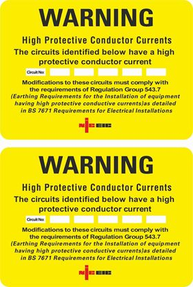 Picture of High Protective Conductor Current Warning Labels / Stickers