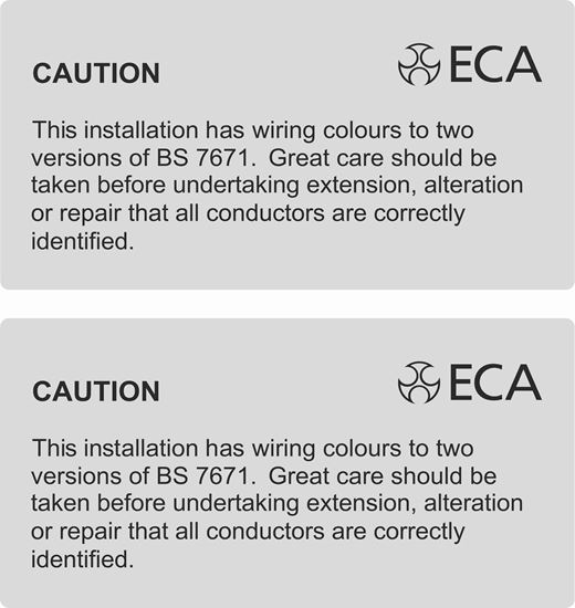 Picture of ECA Cable Colour Warning Labels / Stickers
