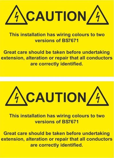 Picture of Caution, This Installation has wiring colours to two...  Decals / Stickers