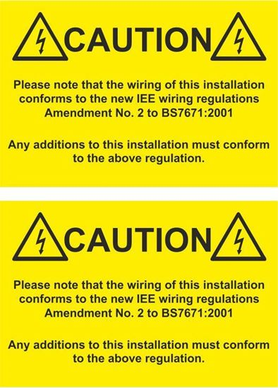 Picture of Caution, Please note that the wiring of this installation...  Decals / Stickers