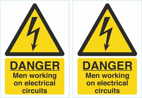 Picture of Danger men working on electrical circuits Decals / Stickers