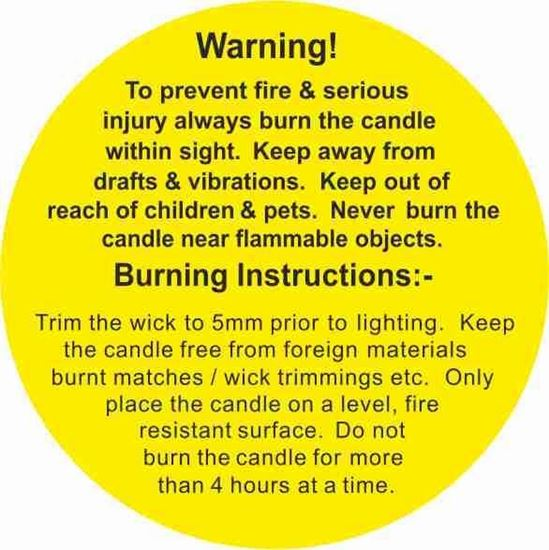 Picture of Candle instruction Labels / Stickers