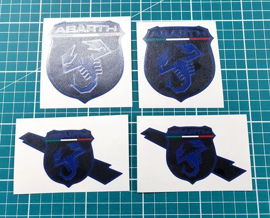Picture of Fiat  595 Front, Side & Rear OE Badge Vinyl Overlays (Black & Ultramarine Blue)
