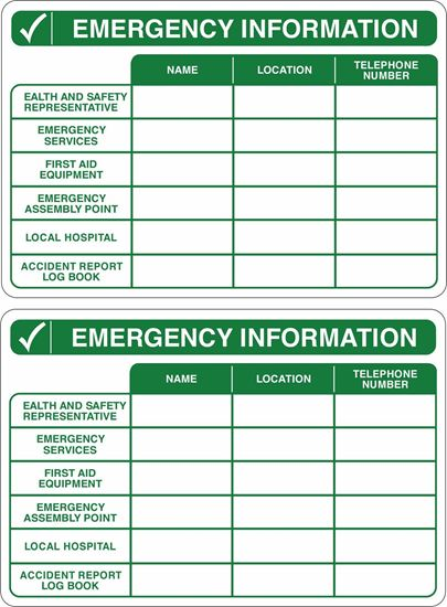 Picture of Emergency Information Decals / Stickers