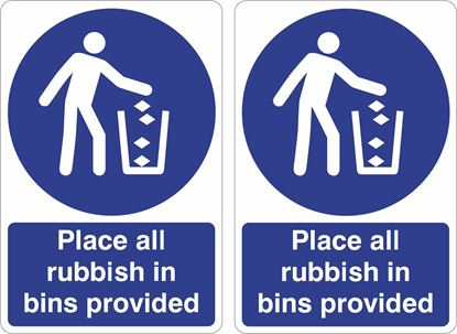 Picture of Place all rubbish in bins provided Decals / Stickers