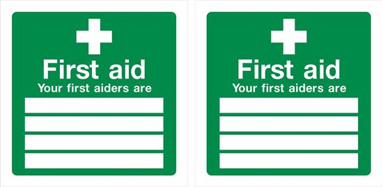 "Picture of First Aid ""your first aiders are""  Decals / Stickers"
