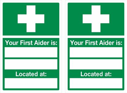"""Picture of First aid """"your first aider"""" Decals / Stickers"""