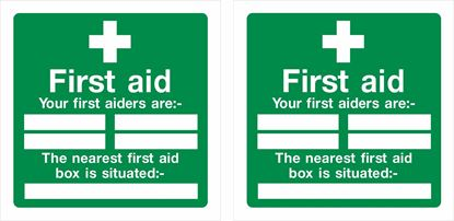 """Picture of First Aid """"your first aiders are""""  Decals / Stickers"""