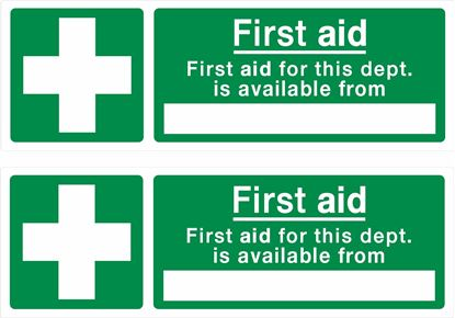 """Picture of First Aid """"First aid for this dept.."""" Decals / Stickers"""