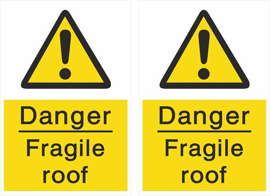 Picture of Danger fragile roof Decals / Stickers
