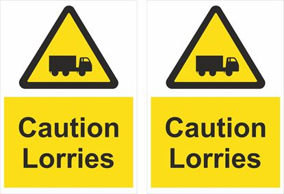 Picture of Caution Lorries Decals / Stickers
