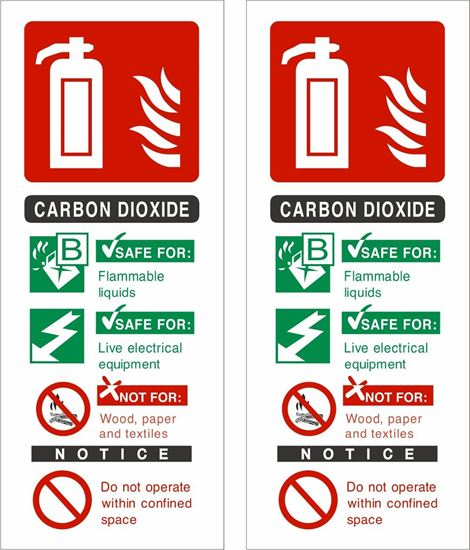 Picture of Fire extinguisher Carbon Dioxide Decals / Stickers