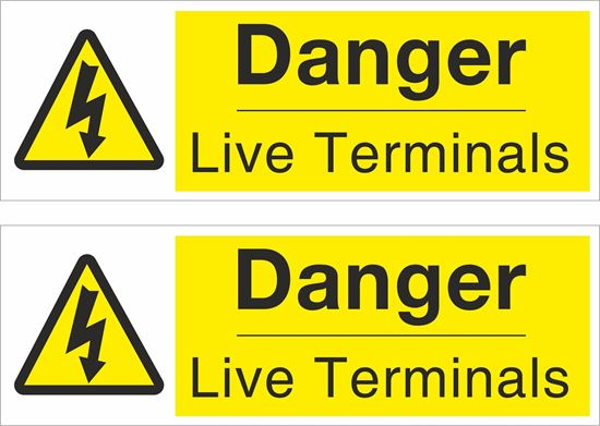 Picture of Danger Live Terminals Decals / Stickers