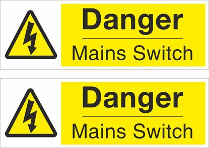 Picture of Danger Mains Switch Decals / Stickers