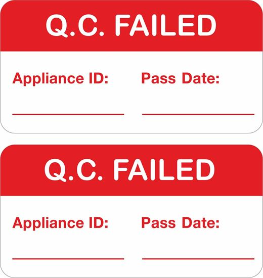 Picture of Appliance Quality Control Failed Labels / Stickers