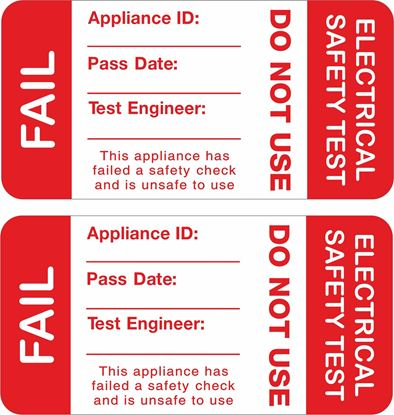 Picture of Appliance Electrical Safety Test Fail Labels / Stickers