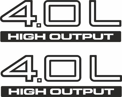 """Picture of Jeep Wrangler replacement """"4,0 L High Output"""" Decals / Stickers"""