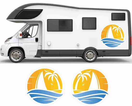 Picture of Sun, Palms & Boat General panel Decals / Stickers