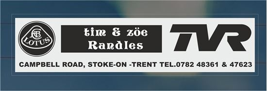 Picture of Tim and Zoe Randles TVR & Lotus Stoke-on-Trent rear glass Dealer Sticker