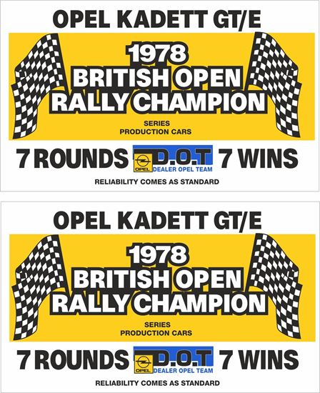 Picture of Opel Kadett GT/E 1978 British open Rally  Decals / Stickers