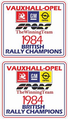 Picture of Vauxhall / Opel Sport 1984 British Rally Champions Decals / Stickers