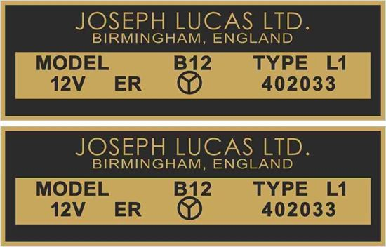 Picture of Lucas replacement Joseph Lucas 12V, B12 Decals / Stickers