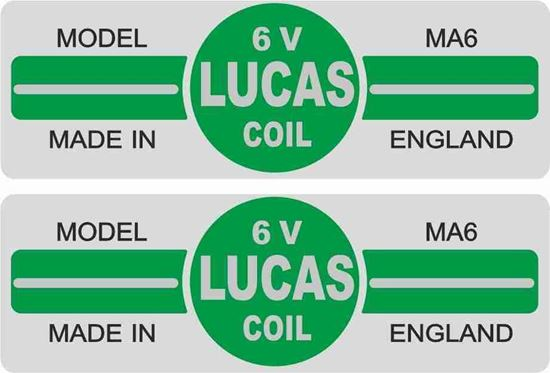 Picture of Lucas replacement 6V, MA6 Coil Decals / Stickers