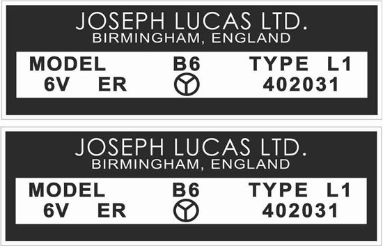 Picture of Lucas replacement Joseph Lucas 6V, B6 Decals / Stickers