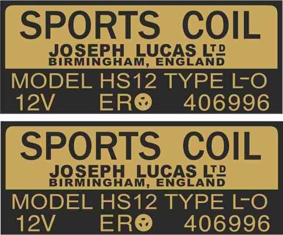 Picture of Lucas replacement Joseph Lucas 12V Sports Coil Decals / Stickers