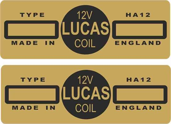 Picture of Lucas replacement HA12, 12V,  Coil Decals / Stickers