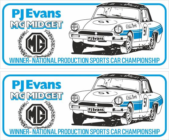 Picture of MG Midget PJ Evans Winner National Production Sports Car Championship  Decals / Stickers