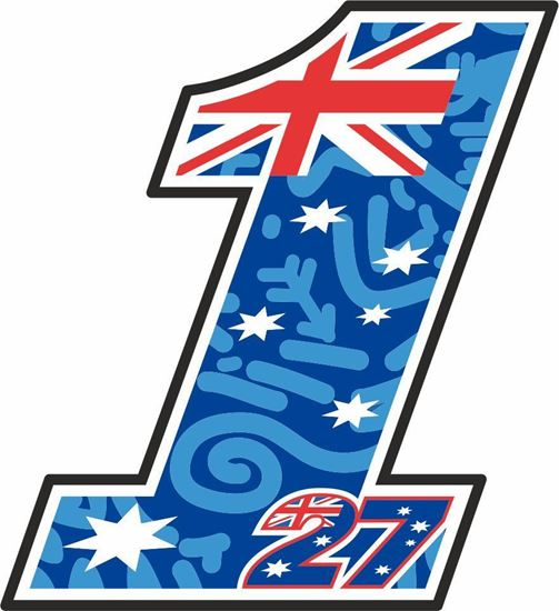 """Picture of """"1""""  Casey Stoner track and street race nose cone number Decal / Sticker"""