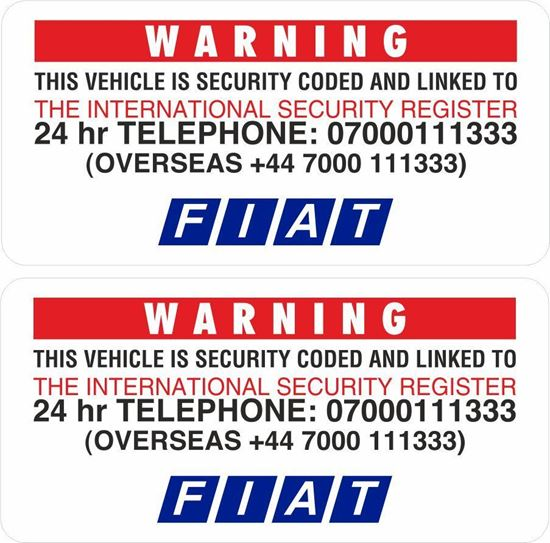 Picture of Fiat Security replacement Glass Decals  /Stickers