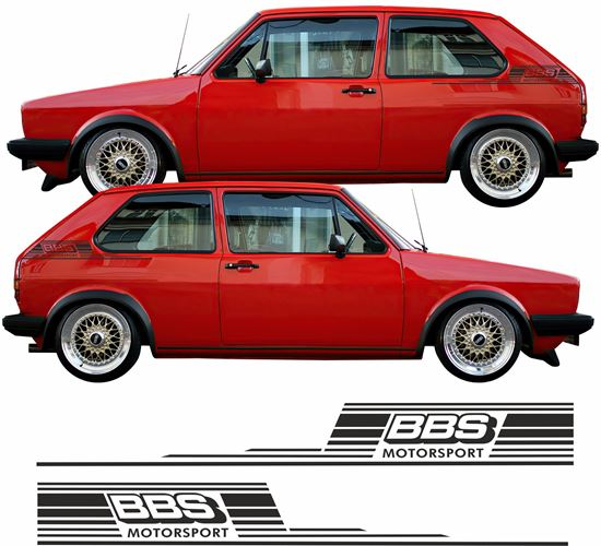 """Picture of Golf MK1 retro style """"BBS"""" side Decals  / Stickers"""