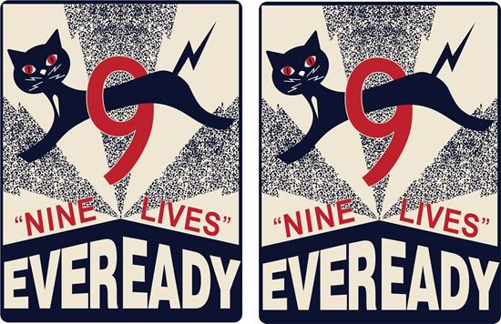 Picture of 9 Lives Eveready Batteries  Decals / Stickers