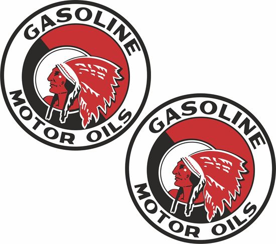 Picture of Red Indian Gasoline Decals / Stickers